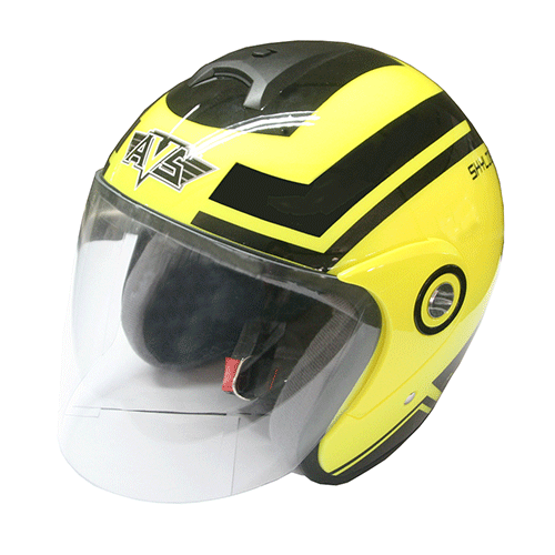 AVS Retro (Flourescent Yellow) - Skyline - Half Face Helmet