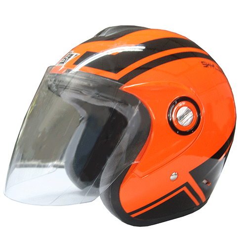 AVS Retro (Flourescent Orange) - Skyline - Half Face Helmet