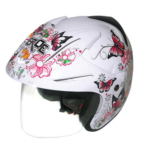EROE (Lily White) - Full Graphic - Half Face Helmet