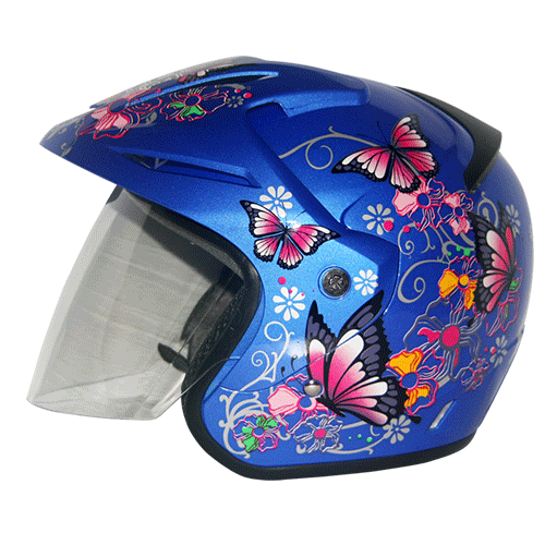 EROE (Lily Blue Realm) - Full Graphic - Half Face Helmet