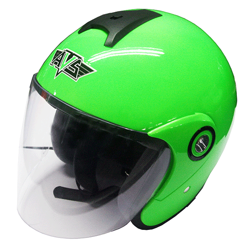 AVS Retro (Green Flourescent) - Solid - Half Face Helmet