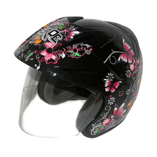 EROE (Lily Black) - Full Graphic - Half Face Helmet