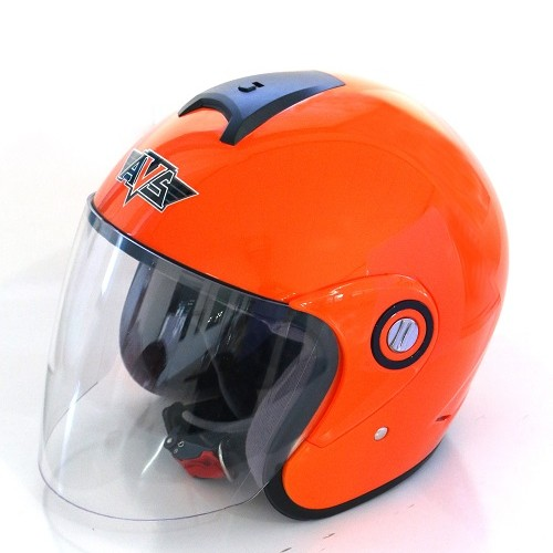 AVS Retro (Orange Flourescent) - Solid - Half Face Helmet