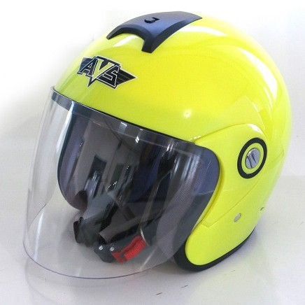 AVS Retro (Yellow Flourescent) - Solid - Half Face Helmet