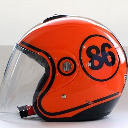 AVS Retro 86 (Orange Flourescent) - Full Graphic - Half Face Helmet