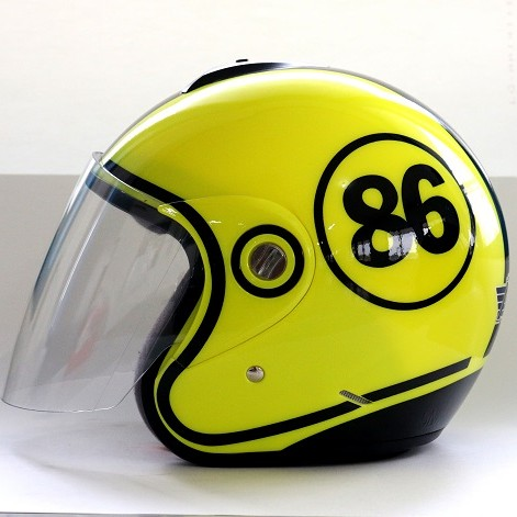 AVS Retro 86 (Yellow Flourescent) - Full Graphic - Half Face Helmet
