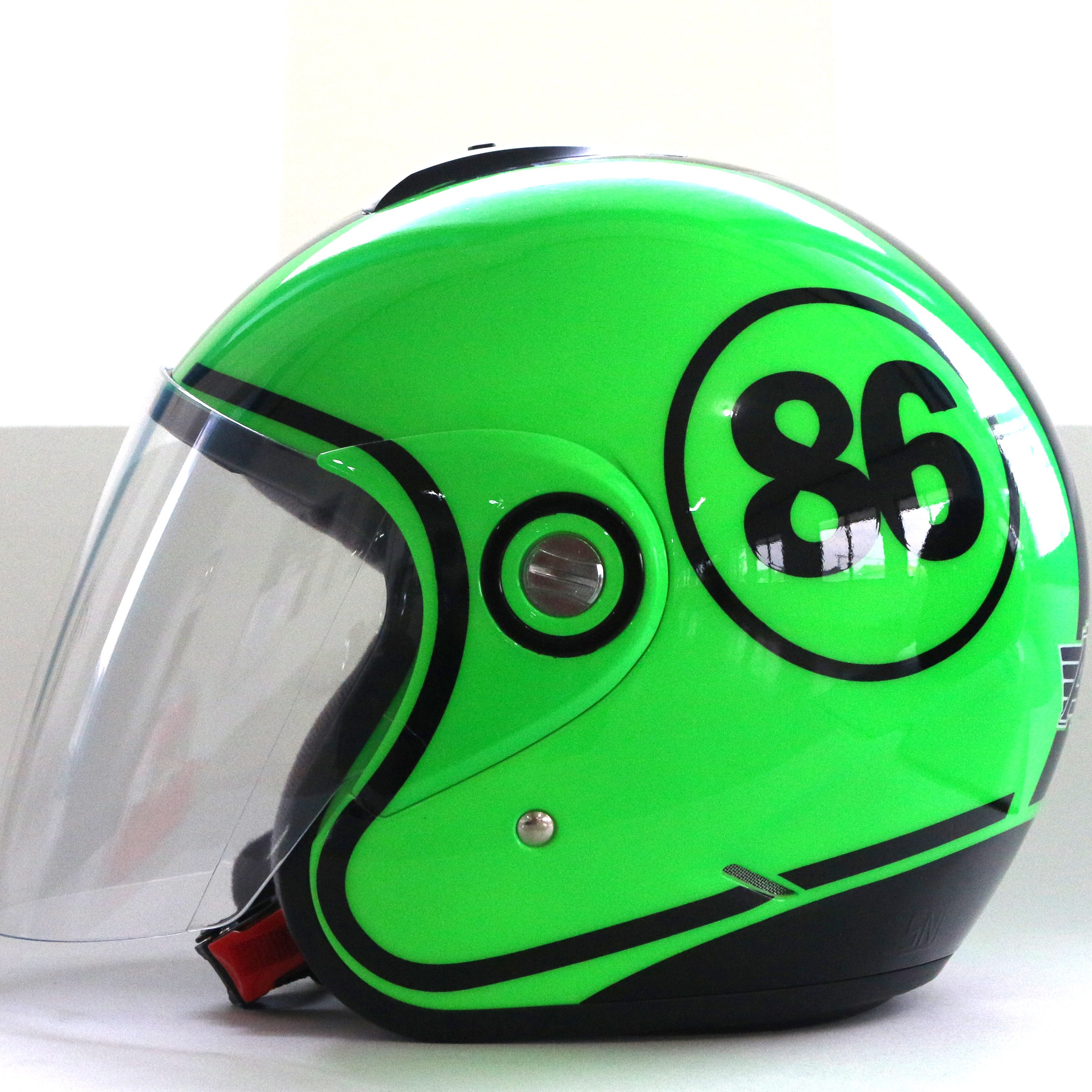 AVS Retro 86 (Green Flourescent) - Full Graphic - Half Face Helmet