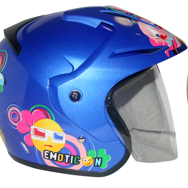 EROE (Emoticonku Blue Realm) - Full Graphic - Half Face Helmet