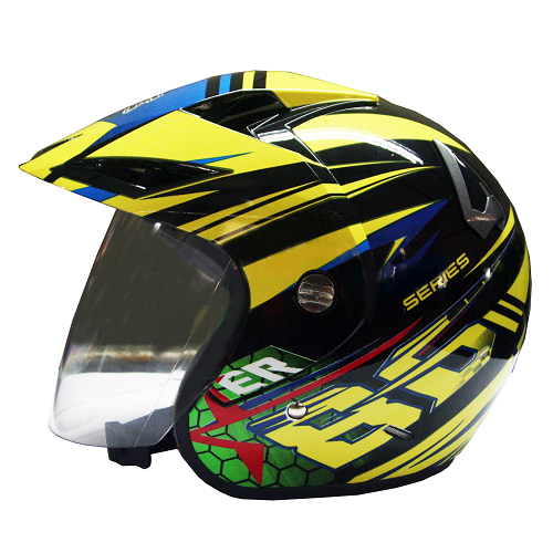 EROE R (86 Base Paint Black) - Full Graphic - Half Face Helmet