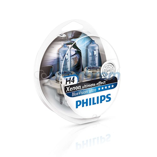 PHILIPS BLUE VISION ULTRA H4 (4000K) - LAMPU HALOGEN