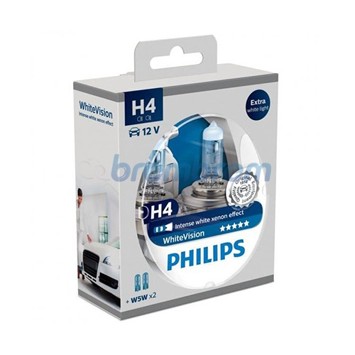 PHILIPS WHITEVISION H4 (4100K) - LAMPU HALOGEN