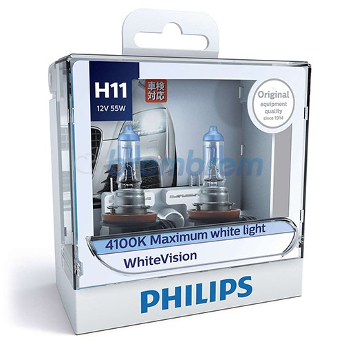PHILIPS WHITEVISION H11 (4100K) - LAMPU HALOGEN
