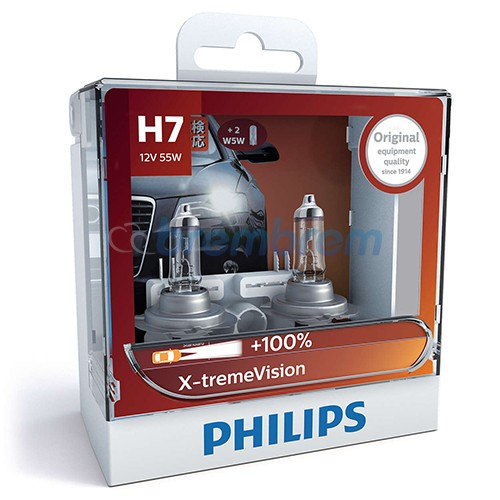 PHILIPS XTREMEVISION H7 (3350K) - LAMPU HALOGEN