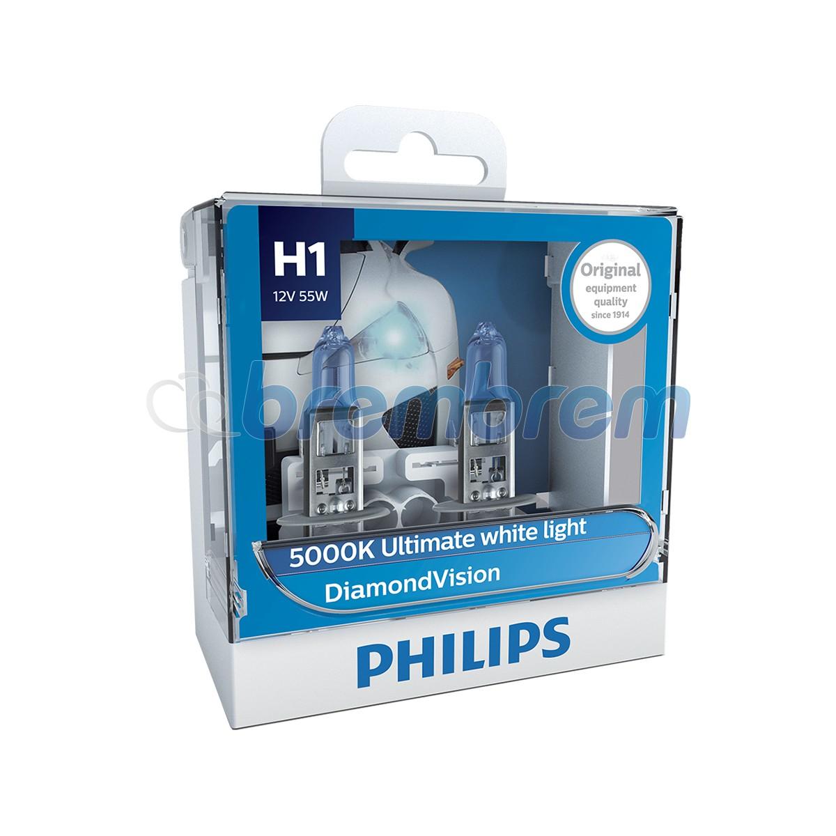 PHILIPS DIAMOND VISION H1 (5000K) - LAMPU HALOGEN