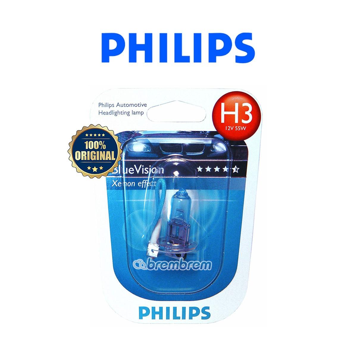 PHILIPS BLUE VISION H3 (4000K) - LAMPU HALOGEN