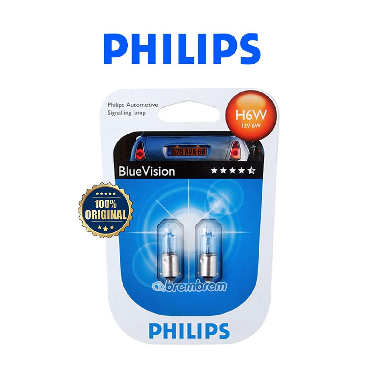 PHILIPS BLUE VISION H6W BV (4000K) - LAMPU HALOGEN