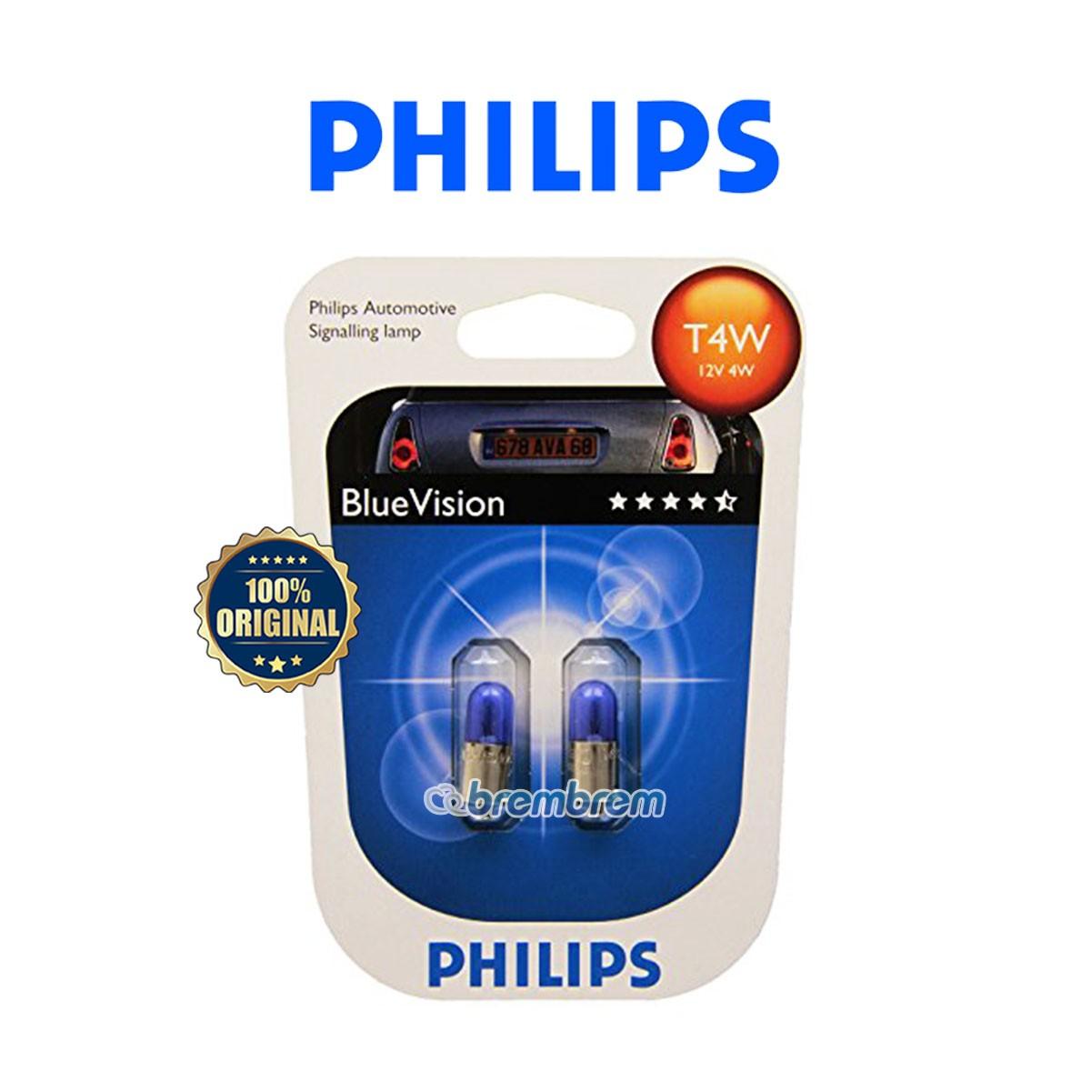 PHILIPS BLUE VISION T4W BV (4000K) - LAMPU HALOGEN