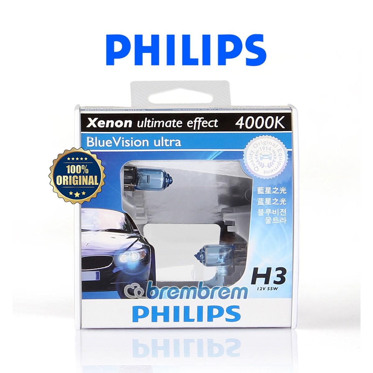 PHILIPS BLUE VISION ULTRA H3 (4000K) - LAMPU HALOGEN