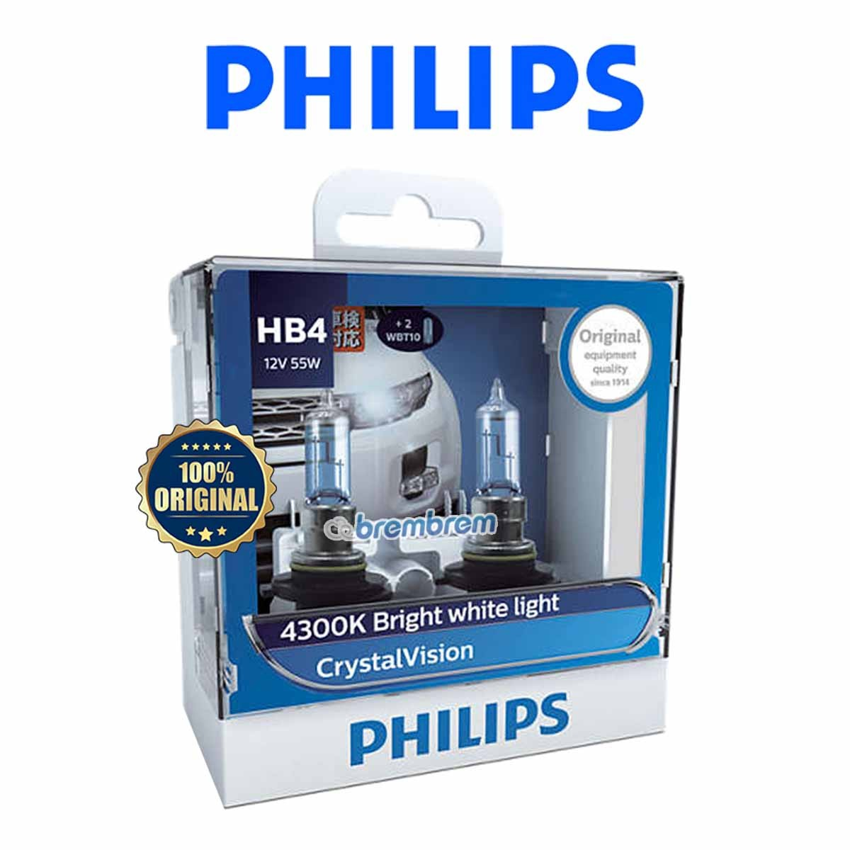 PHILIPS CRYSTAL VISION HB4 (4300K) - LAMPU HALOGEN