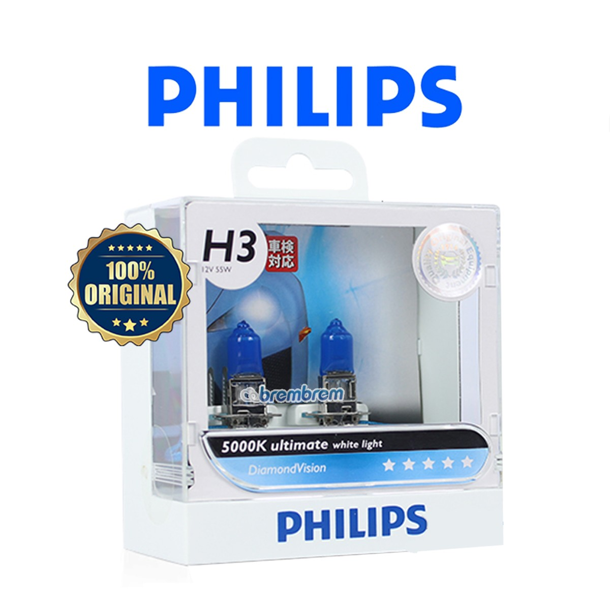 PHILIPS DIAMOND VISION H3 (5000K) - LAMPU HALOGEN