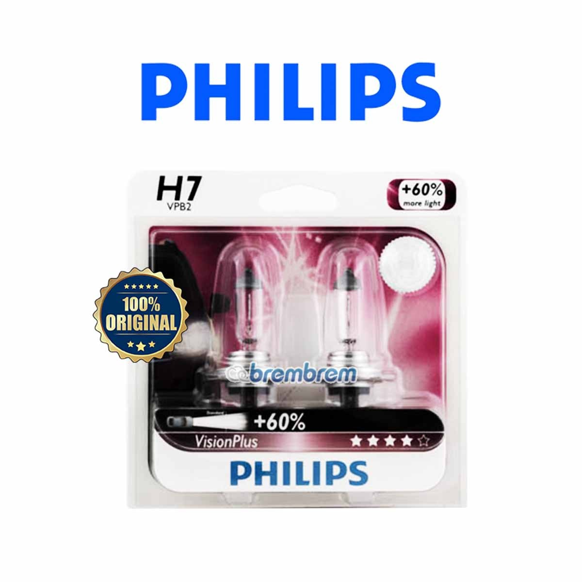PHILIPS VISION PLUS H7 (3350K) - LAMPU HALOGEN