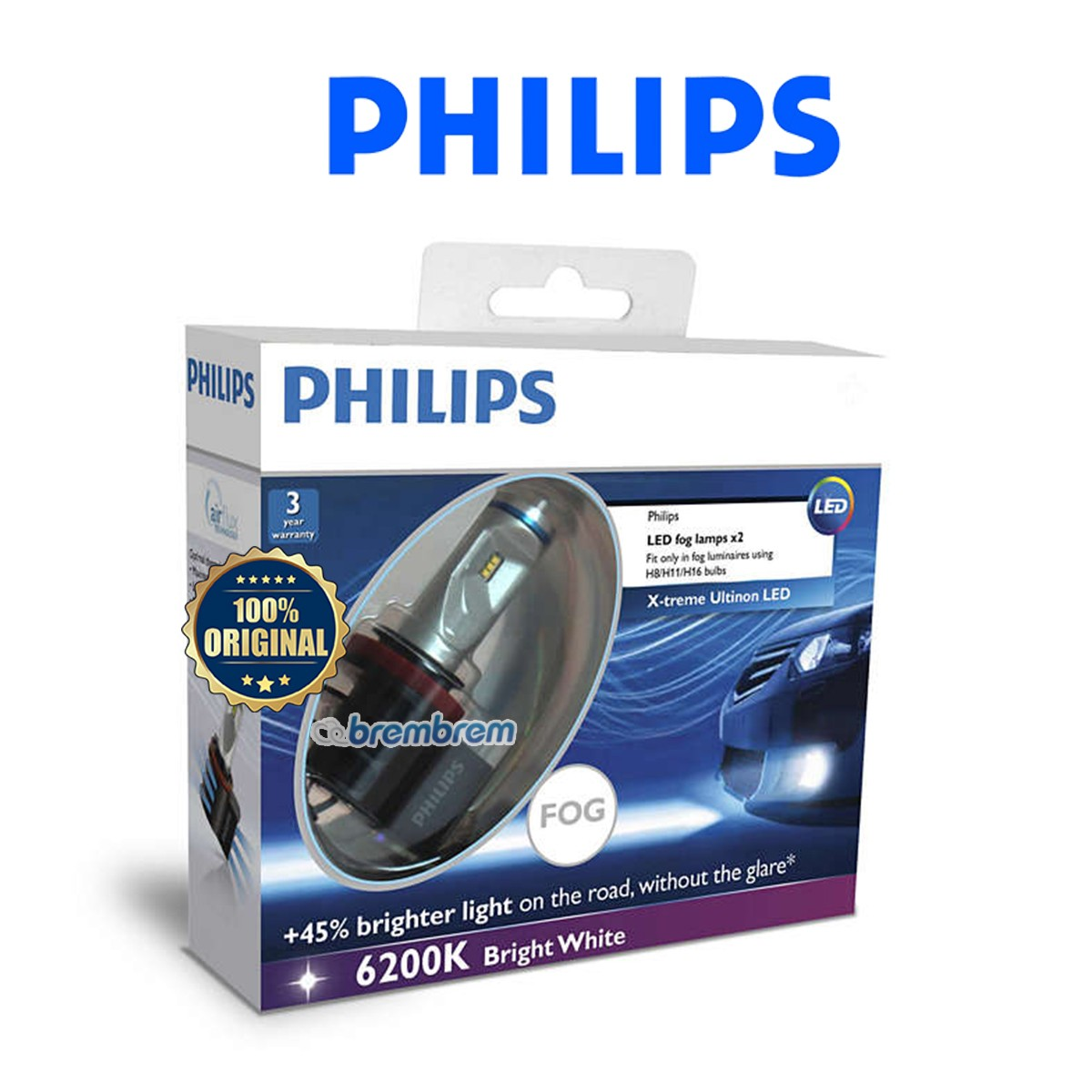 PHILIPS FOG RETROFIT H11 (6200K) - LAMPU LED HEADLAMP