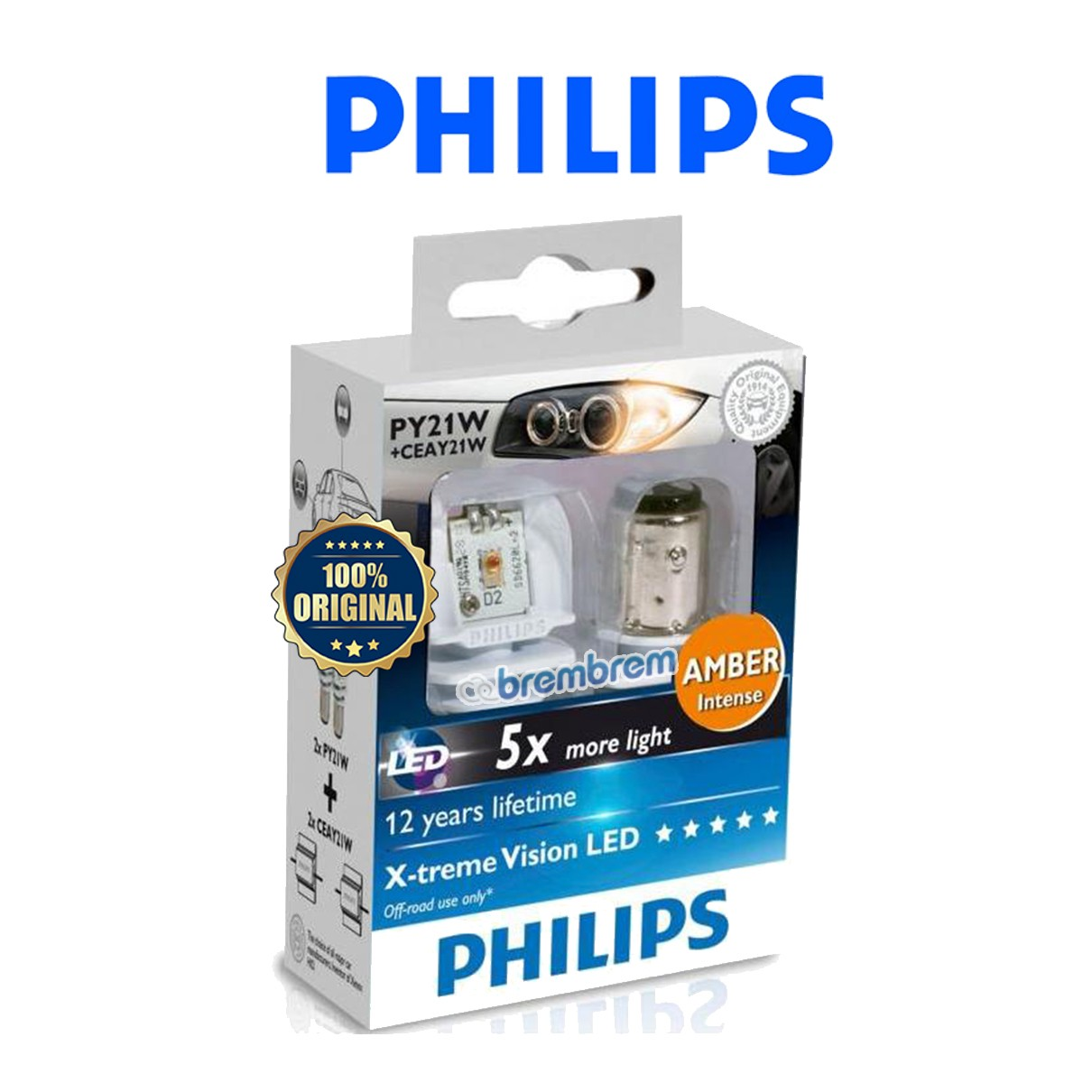 PHILIPS XTREME VISION PY21W + CEAY21W - LAMPU LED MOBIL