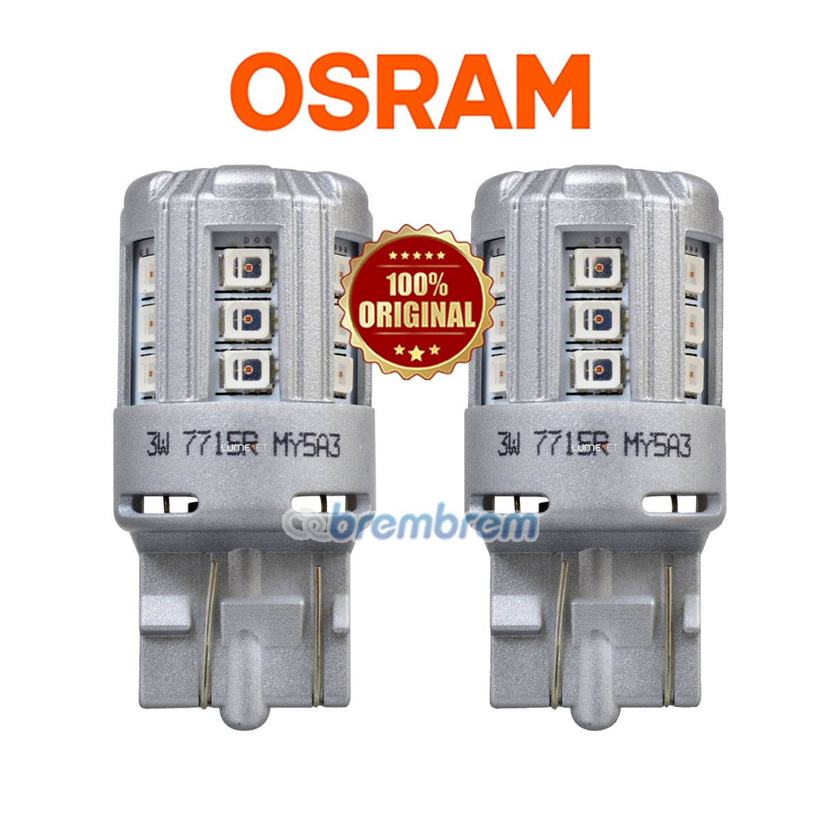OSRAM RETROFIT 7715 RED (W21/5W) - LAMPU REM TANCEP LED MOBIL