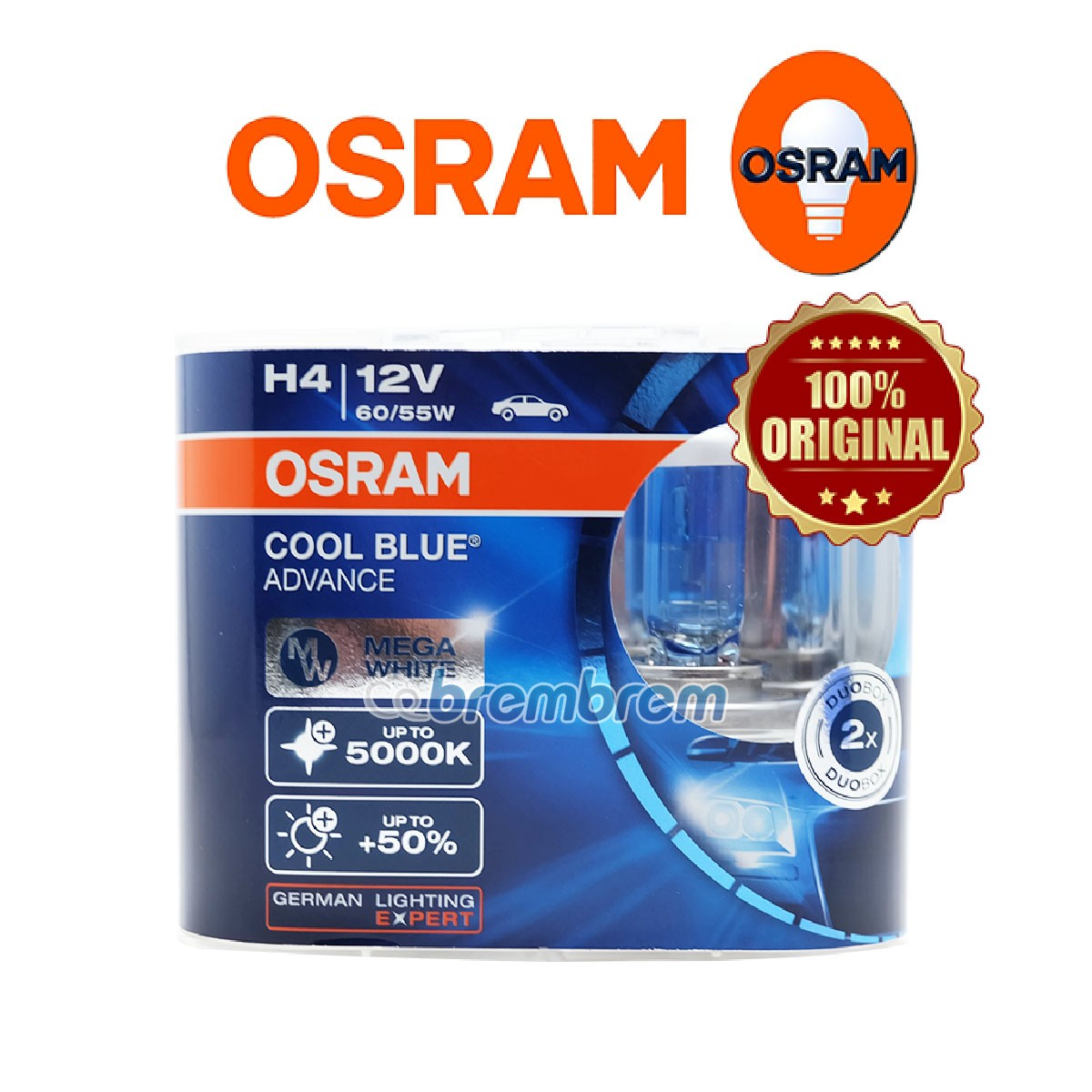 OSRAM COOL BLUE ADVANCE H4 (5000K) - LAMPU HALOGEN