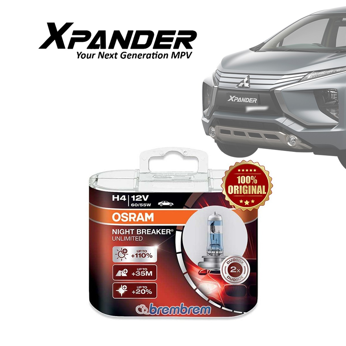 OSRAM NIGHT BREAKER UNLIMITED H4 - LAMPU HALOGEN MITSUBISHI XPANDER
