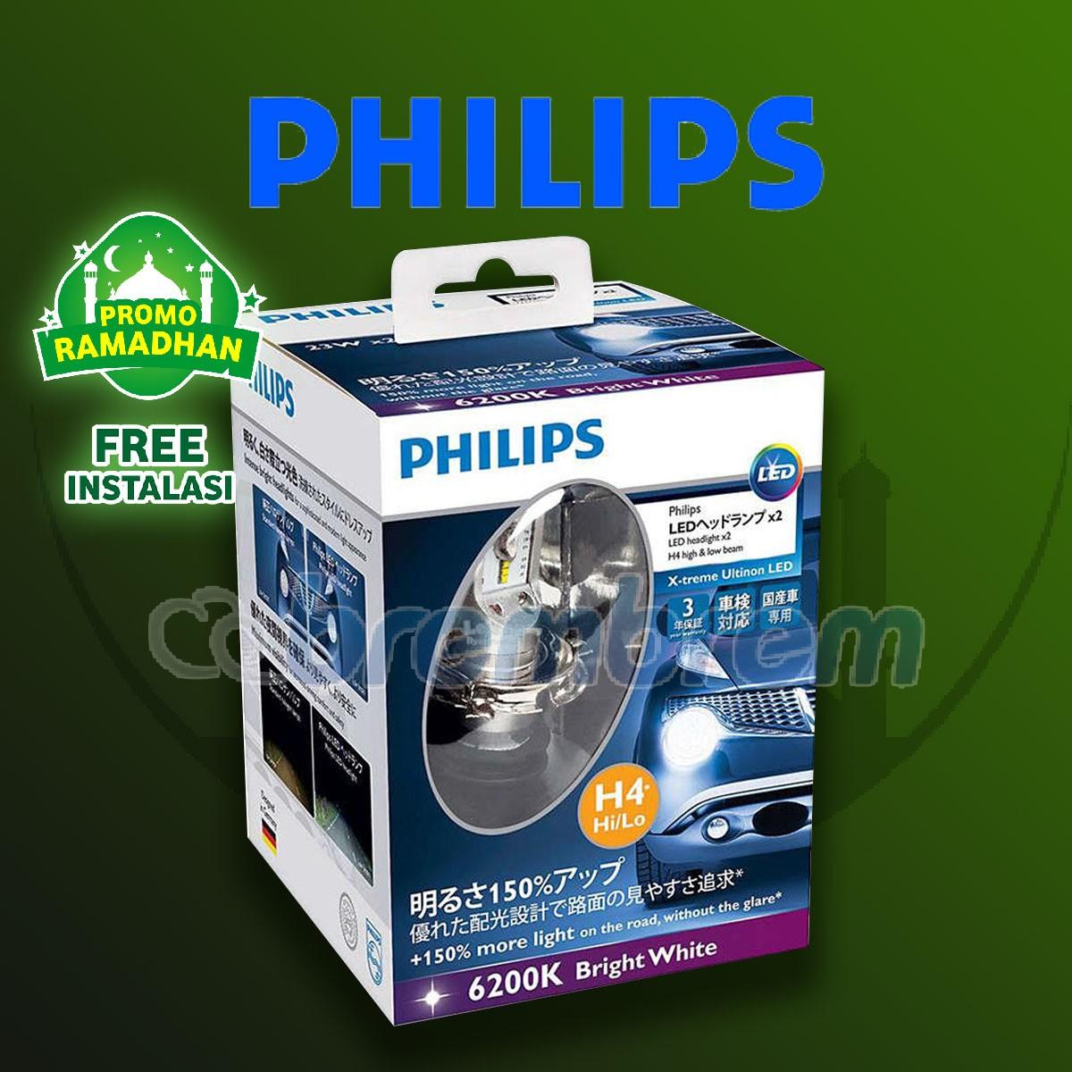 MUDIK BARENG | PHILIPS XTREME ULTINON H4 (6200K) - LAMPU LED