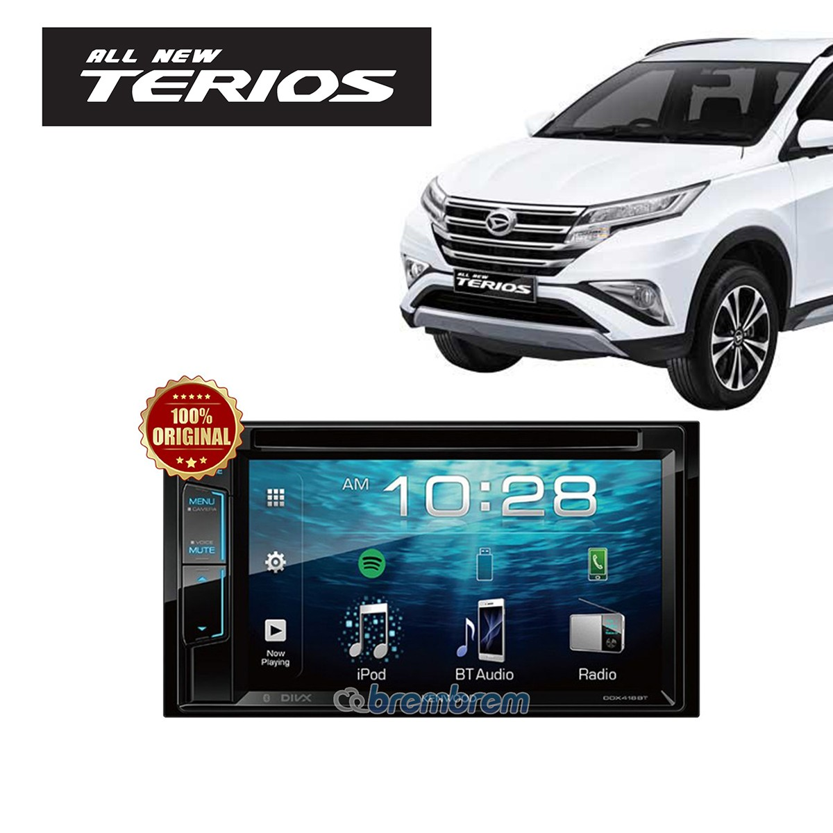 KENWOOD DDX418BT - HEADUNIT DOUBLE DIN DAIHATSU ALL NEW TERIOS + SOKET DAIHATSU