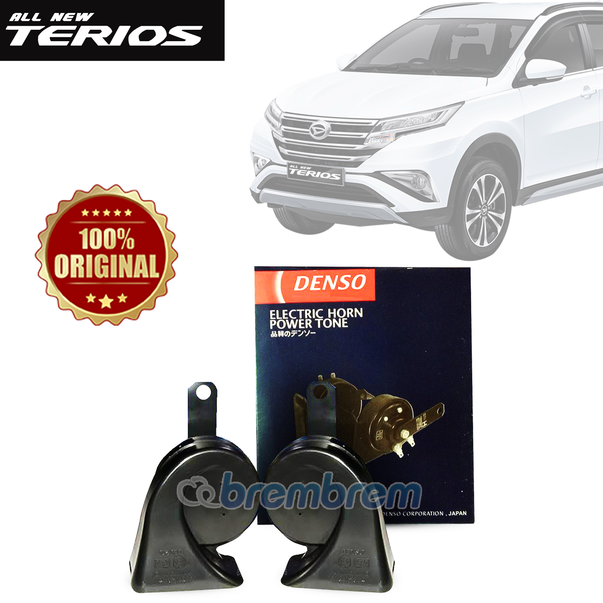 DENSO BLACK ELECTRIC - KLAKSON HORN TWIN MOBIL DAIHATSU ALL NEW TERIOS