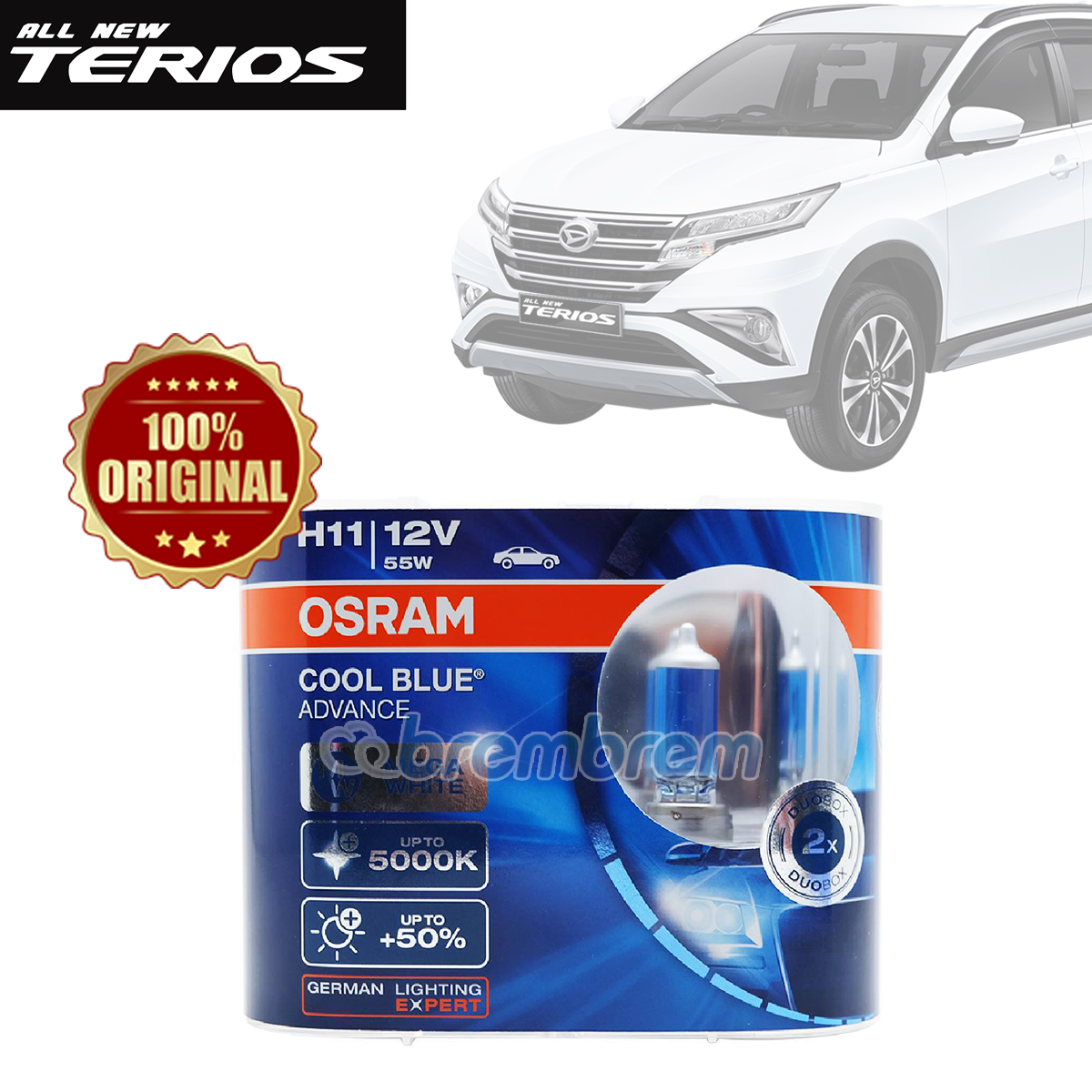 OSRAM COOL BLUE ADVANCE H11 (5000K) - LAMPU HALOGEN DAIHATSU ALL NEW TERIOS