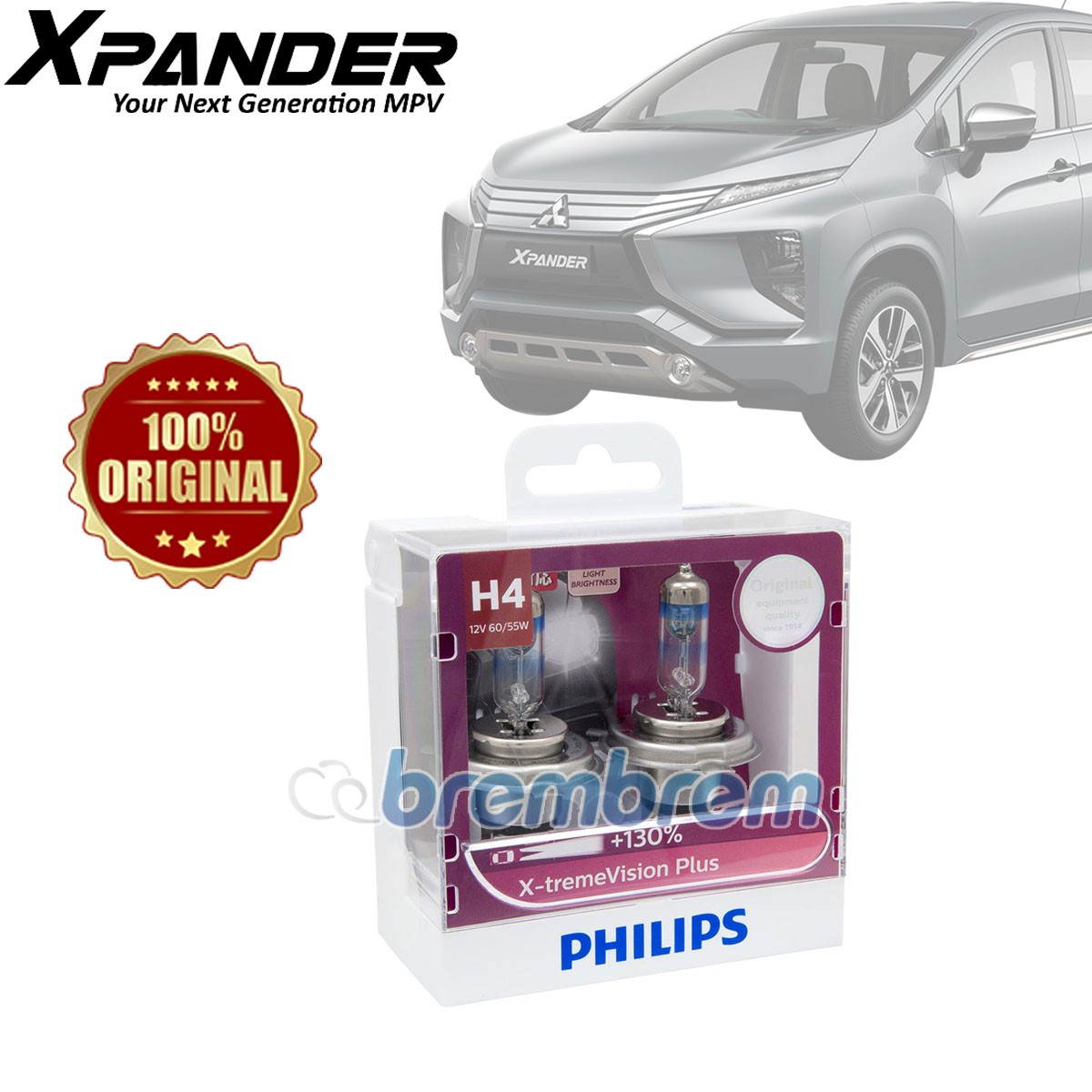 PHILIPS XTREME VISION PLUS H4 (3700K) - LAMPU HALOGEN MITSUBISHI XPANDER