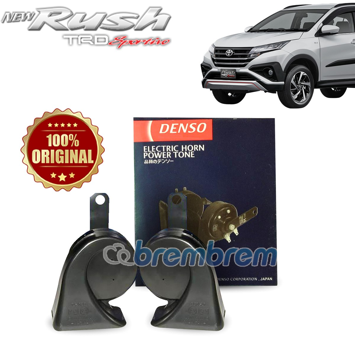 DENSO BLACK ELECTRIC - KLAKSON HORN TWIN MOBIL TOYOTA ALL NEW RUSH