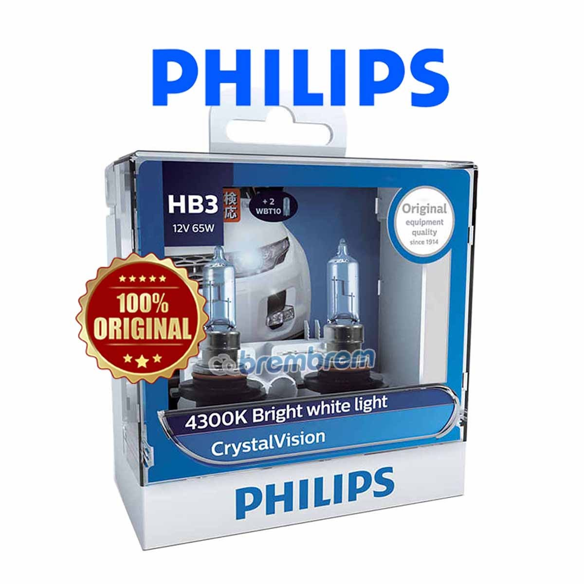 PHILIPS CRYSTAL VISION HB3 (4300K) - LAMPU HALOGEN