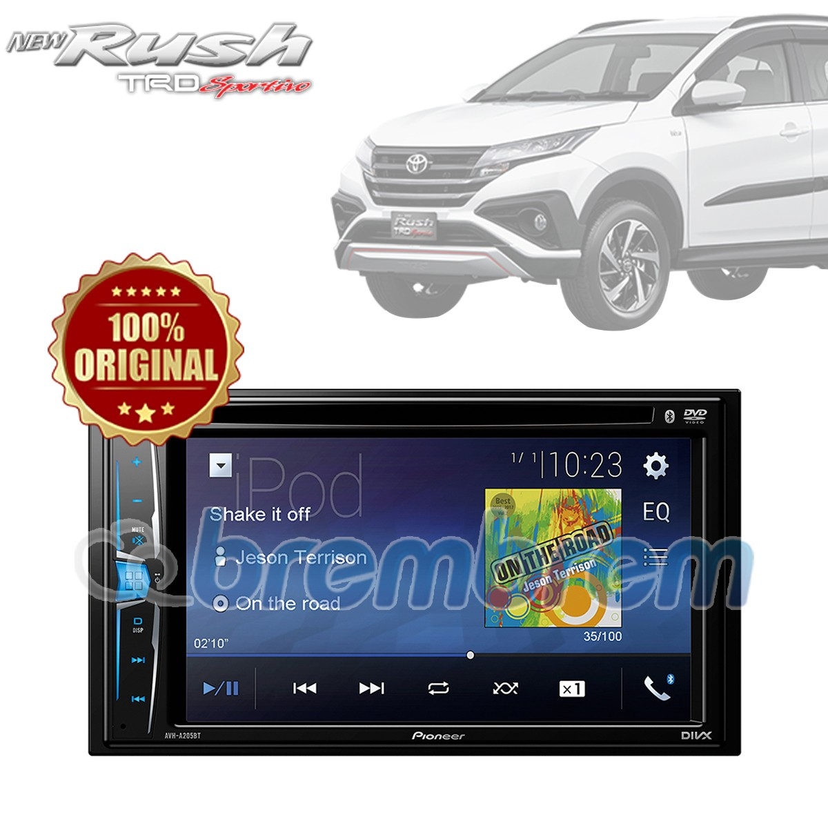 PIONEER AVH A205BT - HEADUNIT DOUBLE DIN TOYOTA ALL NEW RUSH + SOKET TOYOTA