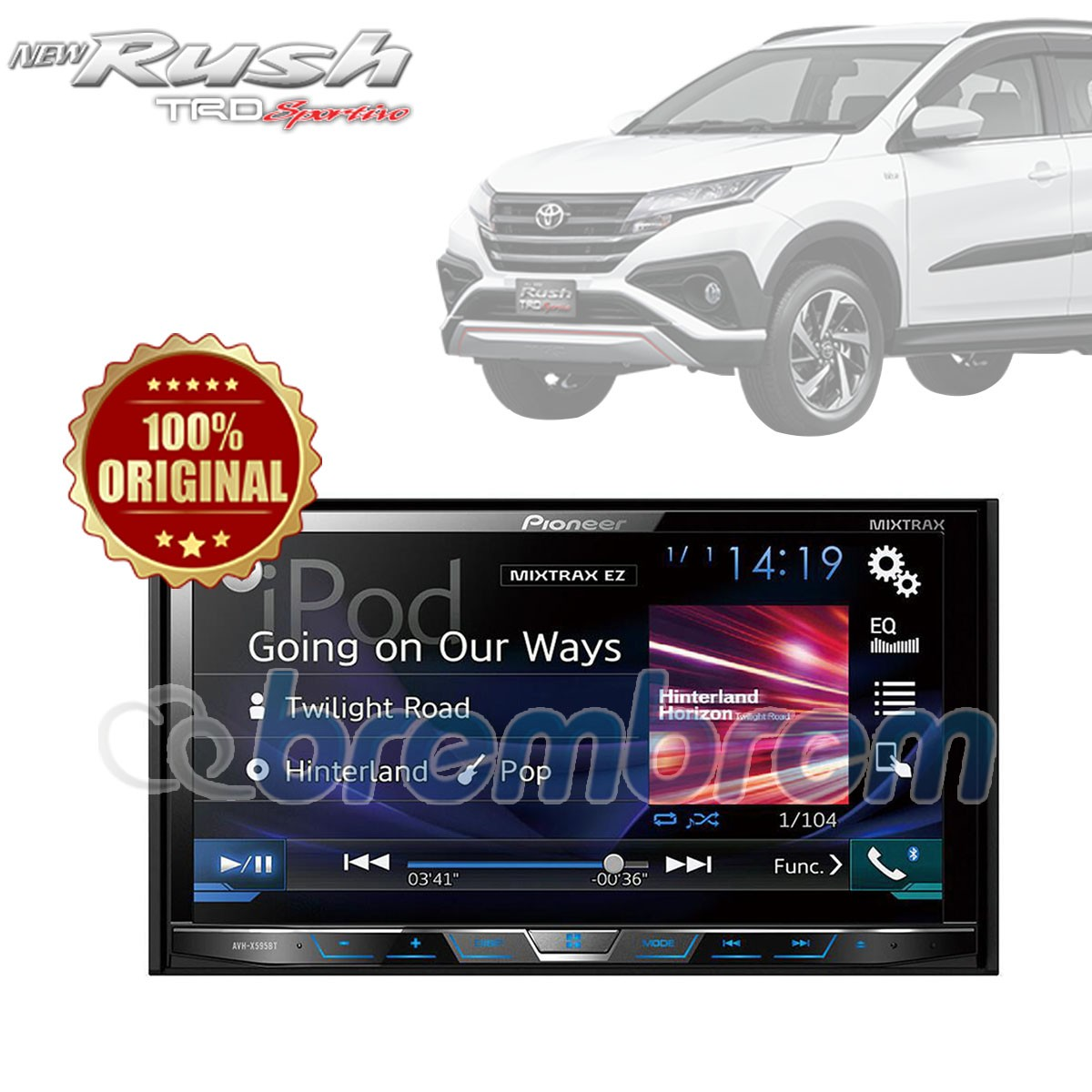 PIONEER AVH X595BT - HEADUNIT DOUBLE DIN TOYOTA ALL NEW RUSH + SOKET TOYOTA