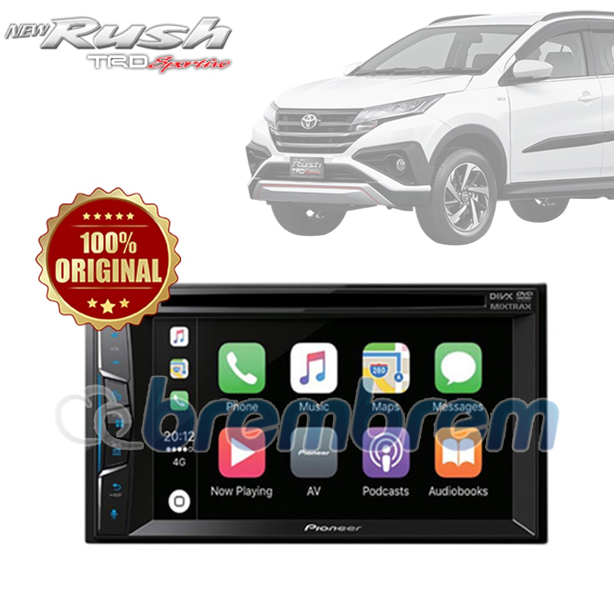 PIONEER AVH Z1050DVD - HEADUNIT DOUBLE DIN TOYOTA ALL NEW RUSH + SOKET TOYOTA