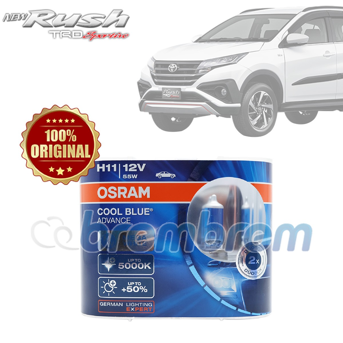 OSRAM COOL BLUE ADVANCE H11 (5000K) - LAMPU HALOGEN TOYOTA ALL NEW RUSH