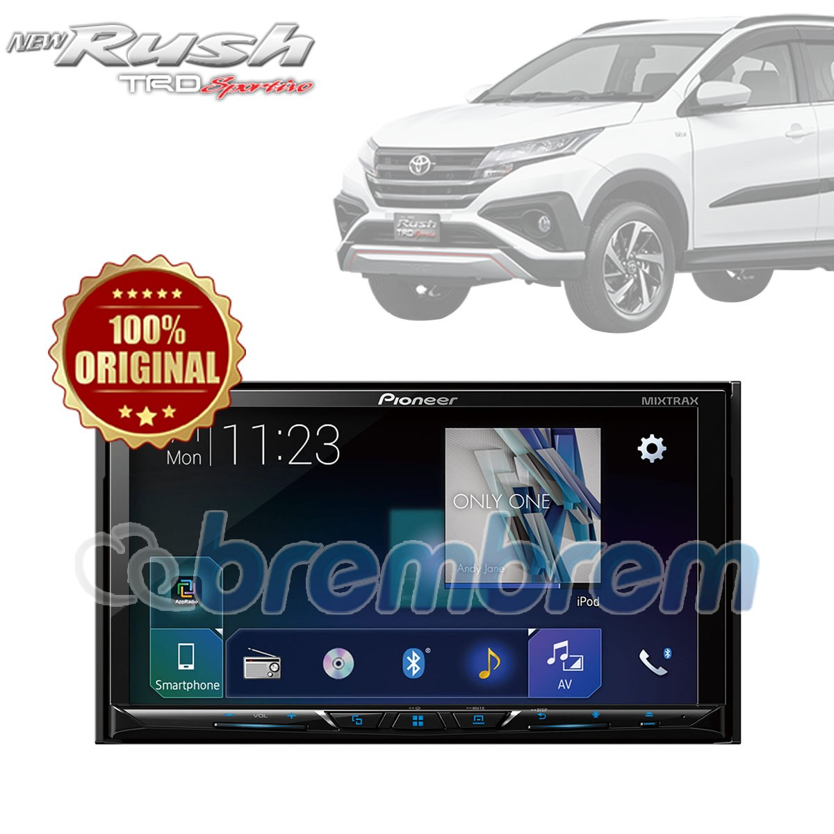 PIONEER AVH-A5150BT - HEADUNIT DOUBLE DIN TOYOTA ALL NEW RUSH + SOKET TOYOTA