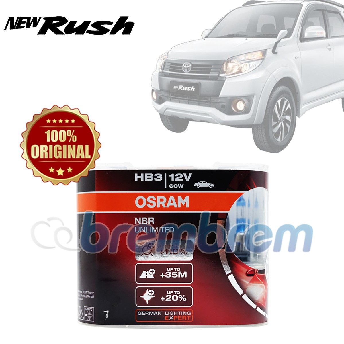 OSRAM NIGHT BREAKER UNLIMITED HB3 - LAMPU HALOGEN TOYOTA RUSH