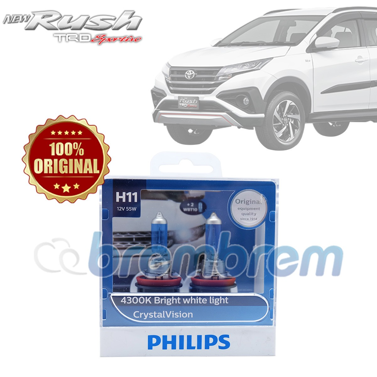 PHILIPS CRYSTAL VISION H11 (4300K) - LAMPU HALOGEN TOYOTA ALL NEW RUSH