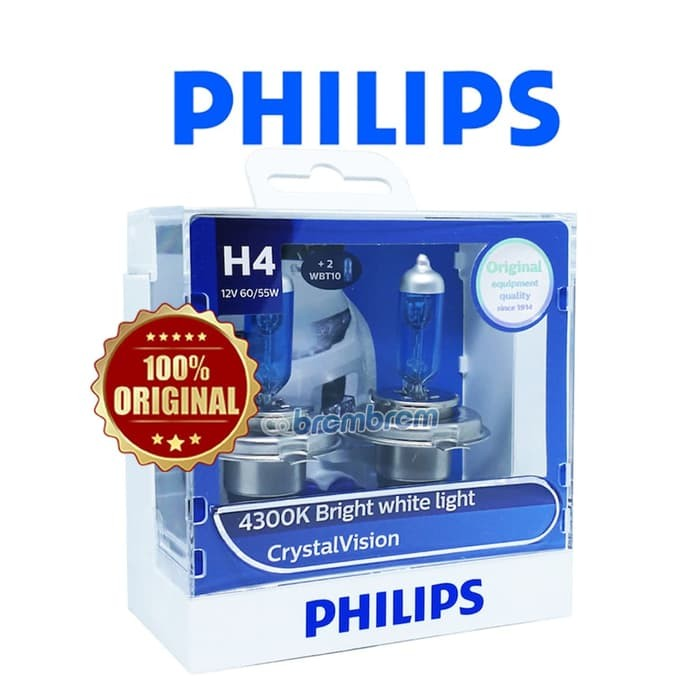PHILIPS CRYSTAL VISION H4 (4300K) - LAMPU HALOGEN