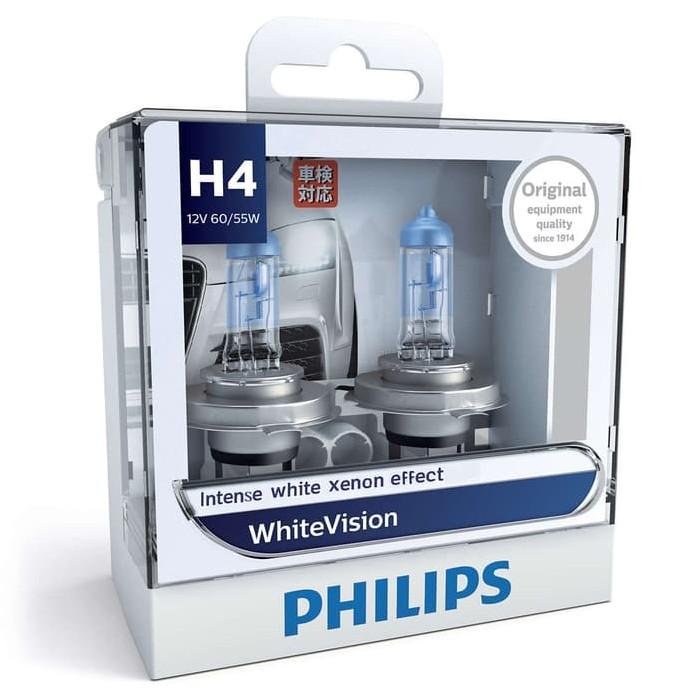 PHILIPS WHITE VISION H4 (4300K) - LAMPU HALOGEN
