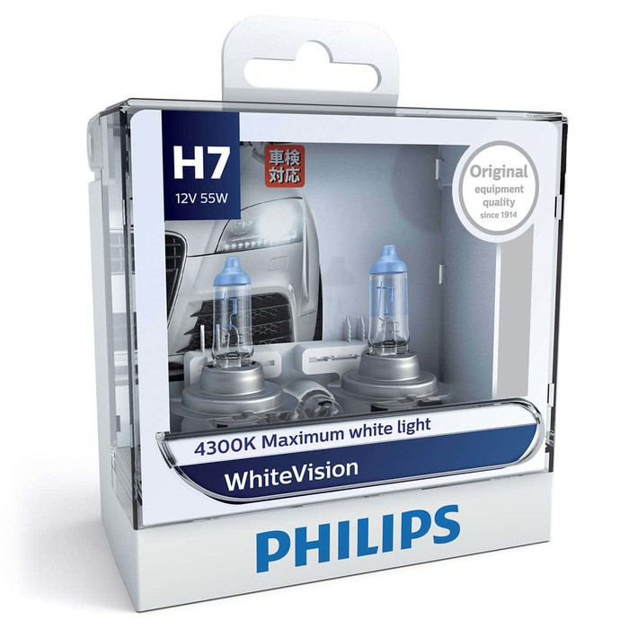 PHILIPS WHITE VISION H7 (4300K) - LAMPU HALOGEN