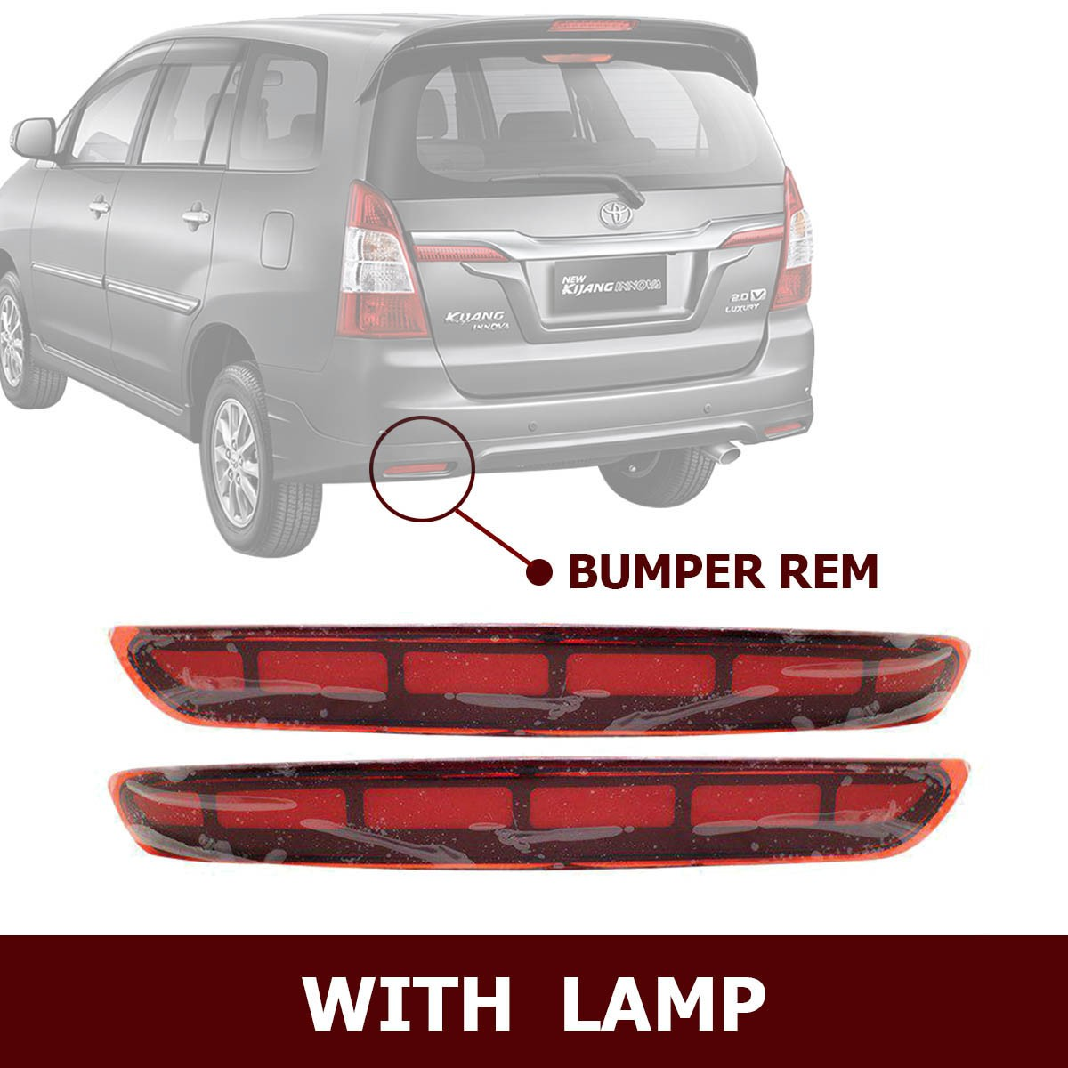 HIRO REAR REFLEKTOR LED BUMPER REM WITH LAMP FOR TOYOTA INNOVA 2017