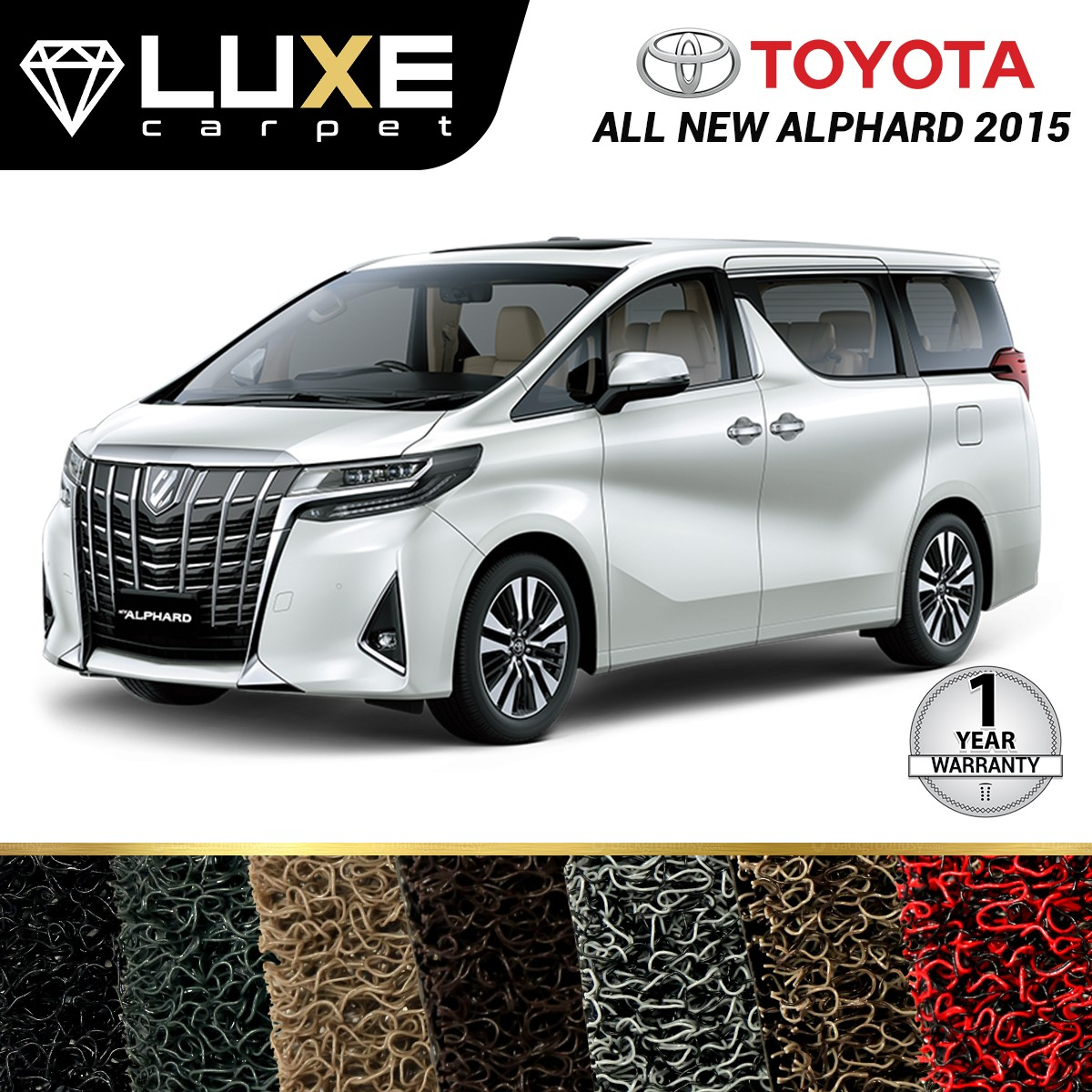 KARPET LUXE + BAGASI TOYOTA ALL NEW ALPHARD 2015 UP  - GOLD SERIES