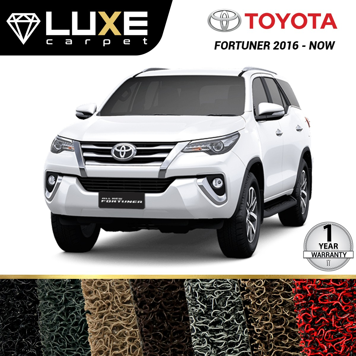 KARPET LUXE + BAGASI TOYOTA ALL NEW FORTUNER 2016 UP - GOLD SERIES